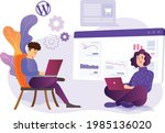 a man and woman sitting with a... | Shutterstock .eps vector #1985136020