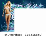 young pretty woman with blank...   Shutterstock . vector #198516860