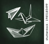 origami vector set. airplane ... | Shutterstock .eps vector #1985185499