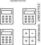 calculator icons set isolated...