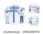 people who look at roadside... | Shutterstock .eps vector #1985200973