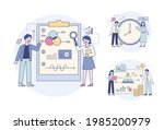 professionals analyzing data by ... | Shutterstock .eps vector #1985200979