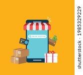smartphone online shopping....   Shutterstock .eps vector #1985329229