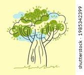 stylized decorative tree  blue... | Shutterstock .eps vector #1985342399