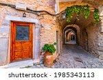 stony road at Mesta village south Chios İsland Greece