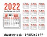 calendar for 2022 on white... | Shutterstock .eps vector #1985363699