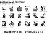 hobbies and free time icon set... | Shutterstock .eps vector #1985388143