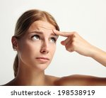 young girl showing with finger... | Shutterstock . vector #198538919