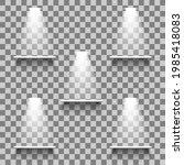 white empty shelves with light... | Shutterstock .eps vector #1985418083