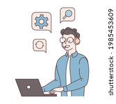 all center  call processing... | Shutterstock .eps vector #1985453609
