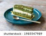 Green Tea Cake Placed In Deep...