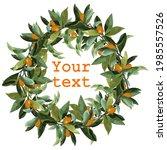 round wreath of orange branches.... | Shutterstock .eps vector #1985557526