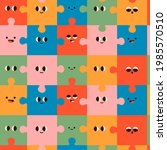 abstract puzzles with faces....   Shutterstock .eps vector #1985570510