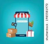smartphone online shopping....   Shutterstock .eps vector #1985581970