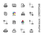printer icons  vector. | Shutterstock .eps vector #198559568