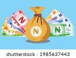 nigerian naira banknotes money...   Shutterstock .eps vector #1985637443