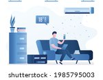 employee working on sofa at...   Shutterstock .eps vector #1985795003