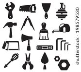 hand tools equipment icon black | Shutterstock .eps vector #198579530