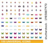 100 universal icons set.... | Shutterstock .eps vector #1985887970