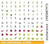 100 universal icons set.... | Shutterstock .eps vector #1985887973