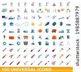 100 universal icons set.... | Shutterstock .eps vector #1985887979