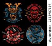 a set of colorful samurai... | Shutterstock .eps vector #1985907899