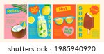 set of summer flyers cards with ...   Shutterstock .eps vector #1985940920