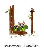 wood letter l owl vector | Shutterstock .eps vector #198596378