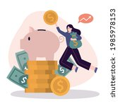 girl jump and throws coins into ... | Shutterstock .eps vector #1985978153