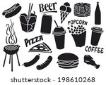 fast food icons set (hamburger, pizza, hot dog, juice, Chinese fast food, fried chicken legs, barbecue grill, sausages, ice cream, pancake, milk shake, popcorn, paper cup of coffee)