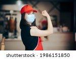 fast food restaurant worker... | Shutterstock . vector #1986151850