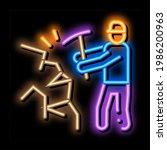 miner with pickaxe neon light...   Shutterstock .eps vector #1986200963