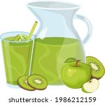 jug of apple juice with mint...   Shutterstock .eps vector #1986212159