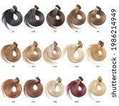 Small photo of A Collection of Different Colors of Pre Bonded Straight Nail Tip Fusion (U tip) Human Hair Extensions, Hair Base Color Palette, Hair Colors chart