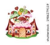 sweet house with waffle door ... | Shutterstock .eps vector #1986279119