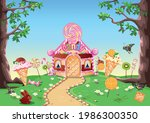 sweet little house with... | Shutterstock .eps vector #1986300350