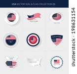 USA Flag, American Seals, Map of the United States, Made in the USA Emblems (Vector Art)