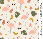 summer tropical print with pink ... | Shutterstock .eps vector #1986312566