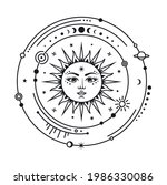silhouette of the sun... | Shutterstock .eps vector #1986330086