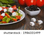 traditional greek salad with...   Shutterstock . vector #1986331499