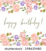 watercolor peony flower frame... | Shutterstock . vector #198635480
