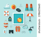 flat icons for swimming pool... | Shutterstock .eps vector #198635660