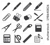 icon stationary education | Shutterstock .eps vector #198640826