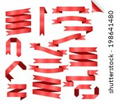 big red ribbons set  isolated... | Shutterstock .eps vector #198641480