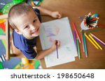 boy  drawing a picture for... | Shutterstock . vector #198650648
