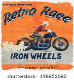 vintage race motorcycle for... | Shutterstock .eps vector #198653060
