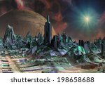 alien planet   3d rendered... | Shutterstock . vector #198658688