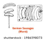 german sausages wurst hand... | Shutterstock .eps vector #1986598073