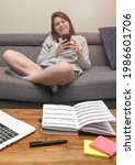 smartphone distraction while...   Shutterstock . vector #1986601706