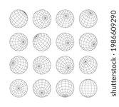 earth grid globe in shape of 3d ...   Shutterstock .eps vector #1986609290